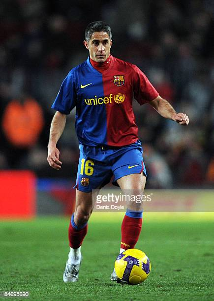 Sylvinho of Barcelona controls the ball during the La Liga match between Barcelona and Sporting Gijon at the Camp Nou stadium on February 8 2009 in...