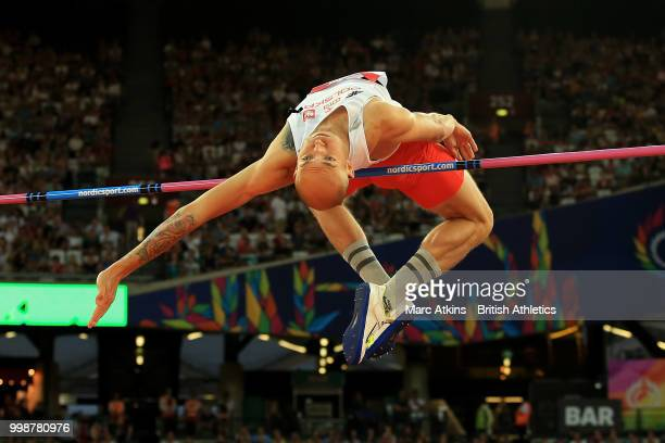Sylwester Bednarek of Poland competes in the Men's High Jump during day one of the Athletics World Cup London at the London Stadium on July 14 2018...