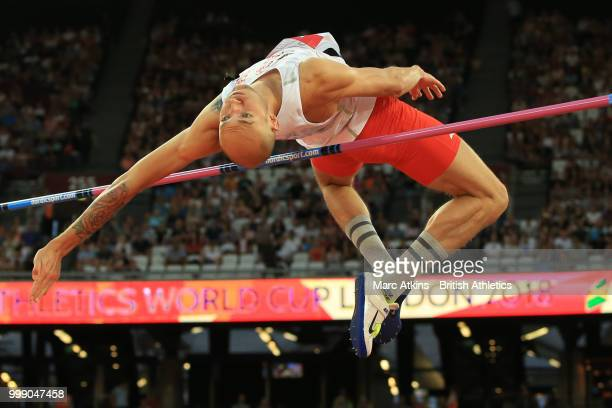 Sylwester Bednarek of Poland competes in the mens high jump during Day One of the Athletics World Cup at London Stadium 2018 presented by Muller on...