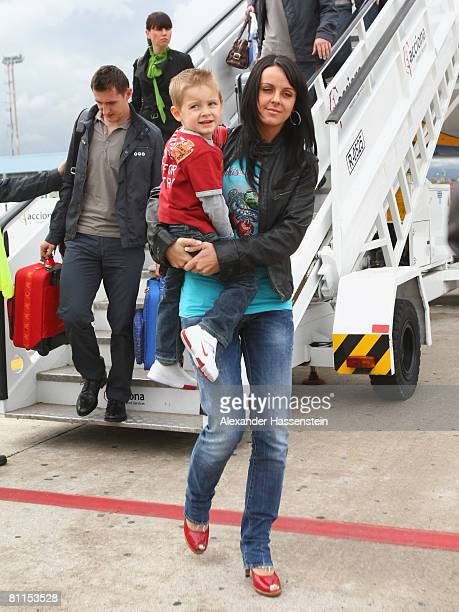Sylwia Klose arrives with her husband Miroslav Klose of Germany arrives at Palma Airport on May 19 2008 in Palma de Mallorca Spain The German...