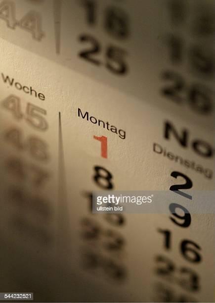 Symbol Kalender Kalenderblatt mit Wochentagen