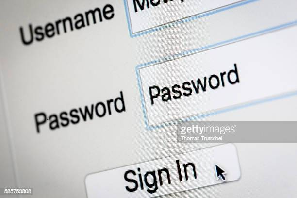 Symbol of a website login with the password 'password' on a computer screen on August 04 in Berlin Germany