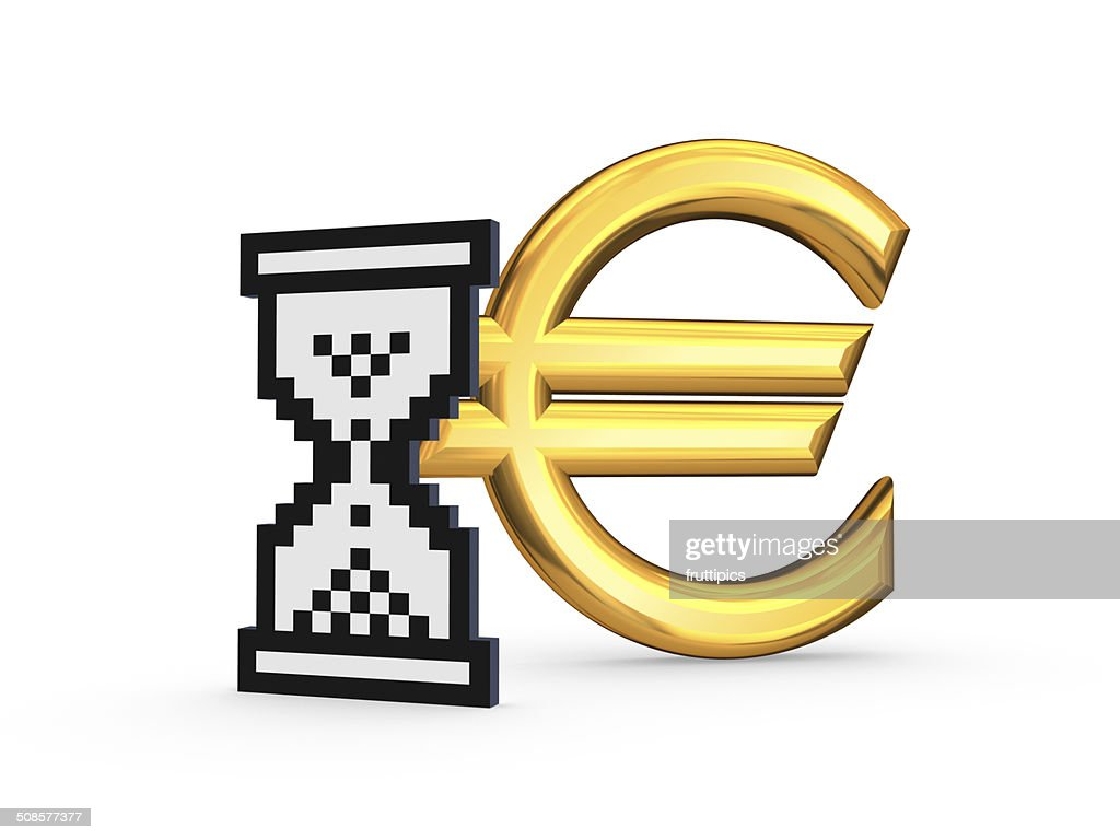 Symbol of euro and sandglass icon. : Stock Photo