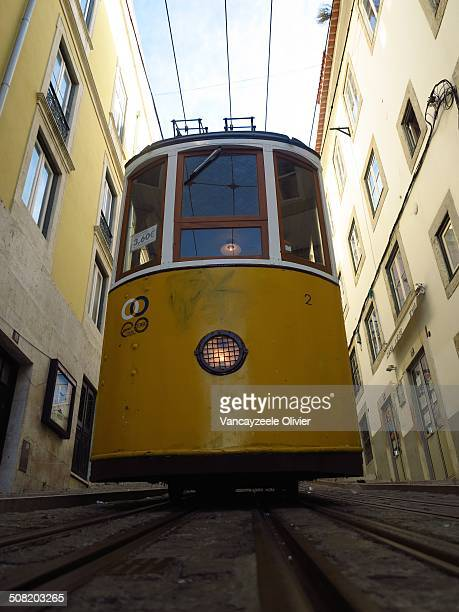 Symbol of Lisbon, Bairro Alto funicular. Photo taken early in the morning from a different angle.