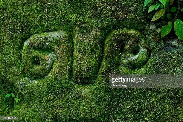 A symbol of the Huaorani tribe also known as the Waos who are native Amerindians from the Amazonian Region of Ecuador sits on the face of a rock in...