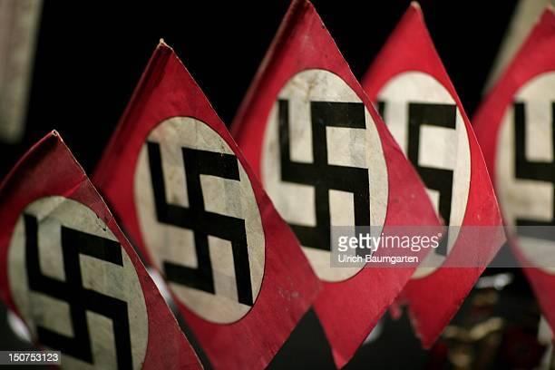 Symbol of the national socialism - swastika-flags in the Haus der Geschichte der Bundesrepublik GERMANY .