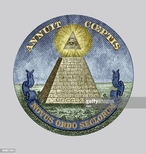 Symbol of the The Bavarian Illuminati secret society members were from Freemasonry accused of conspiracy detail of a one dollar bill colorized...