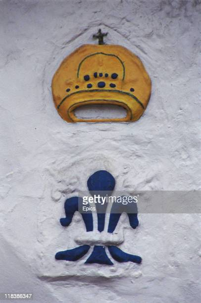 A symbol of the wool trade in Water Street in Lavenham Suffolk England circa 1990