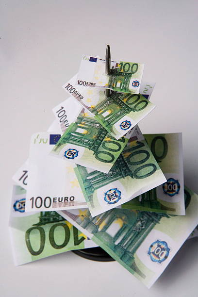 Symbol Photo Inflation Skewered 100 Euro Banknotes Pictures