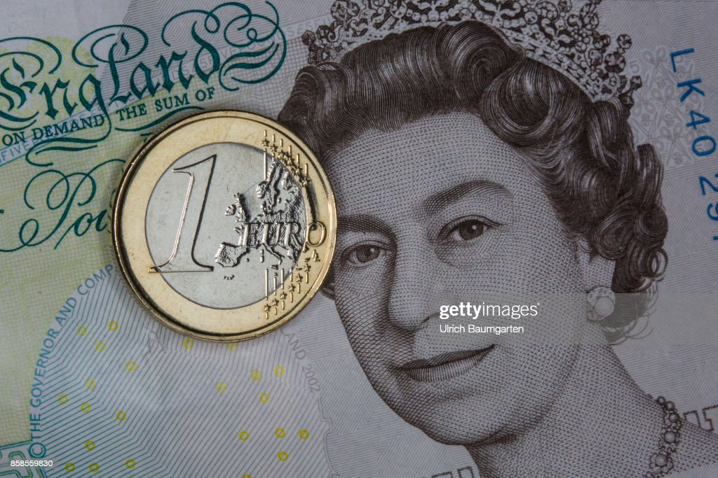 Brexit British Pound Banknote Elizabeth Ii And A One Euro Coin