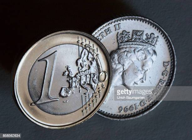 Symbol photo on the subject Brexit European Union Great Britain etc The picture shows a British pound coin with the portrait of Queen Elizabeth II...