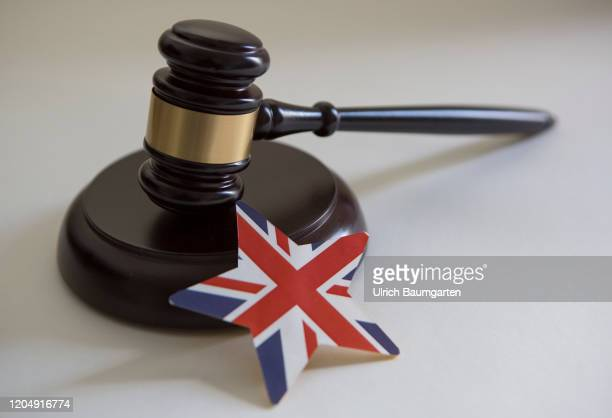 Symbol photo on the subjects auction hammer, court gavel, Brexit, Great Britain, European Union, trade relations, etc. The picture shows a court...