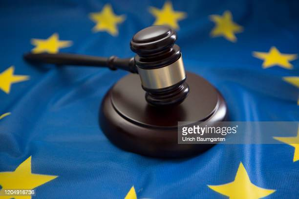 Symbol photo on the subjects auction hammer, court gavel, brexit, European Union, European Court of Justice, case law, etc. The photo shows a judge...