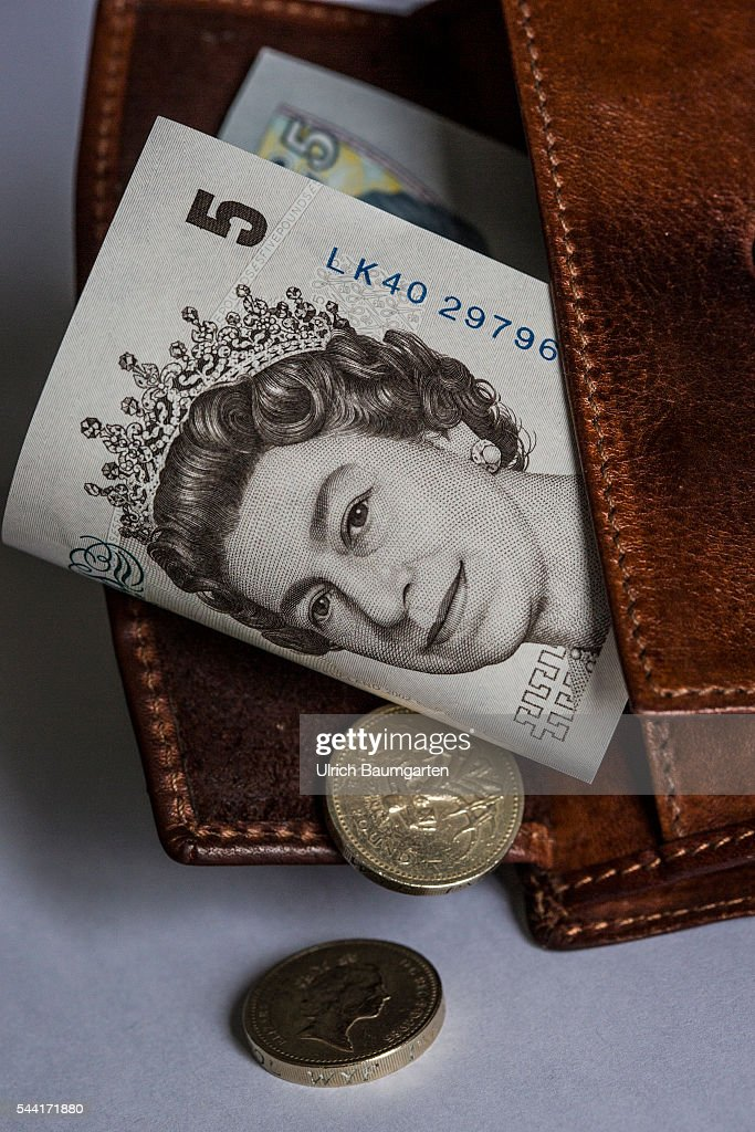 Wallet With A 5 Pounds Banknote And A 1 Pounds Coin Pictures