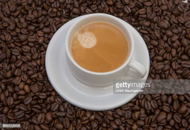 Symbol photo on the topic coffee The picture shows a coffee pot with coffee on coffee beans