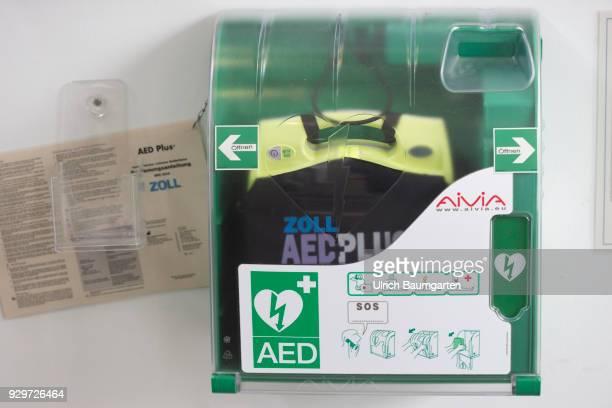 Symbol photo on the topics external defibrillator heart rhythm disorders ventricular fibrillation atrial fibrillation medical emergency etc The...