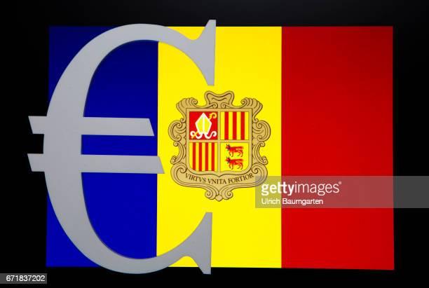 Symbol photo on the topics tax oasis banking secrecy tax treaties tax investigation tax authorities etc The photo shows the eurosymbol on the flag of...