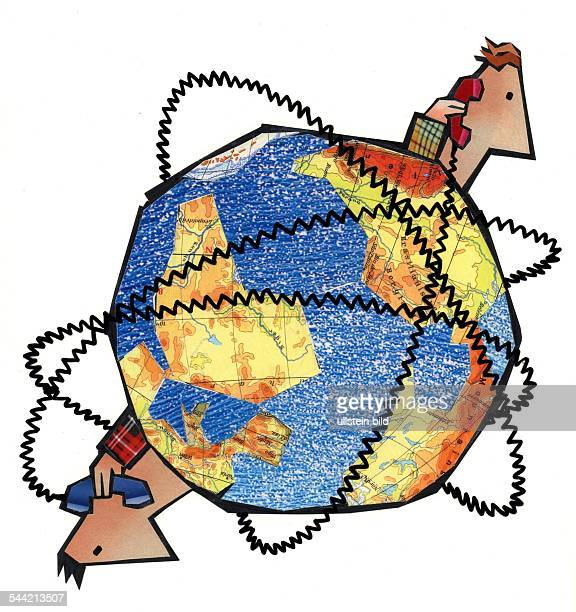 Symbol Telekommunikation Datentransfer Kommunikation globale Vernetzung zwei Maenner sind mit Telefonkabeln rund um die Welt verbunden