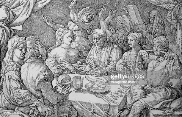 Symbolic depiction of the ruthlessness of love making in the Renaissance Spanish engraving 1545 men and women in a convivial round while eating and...