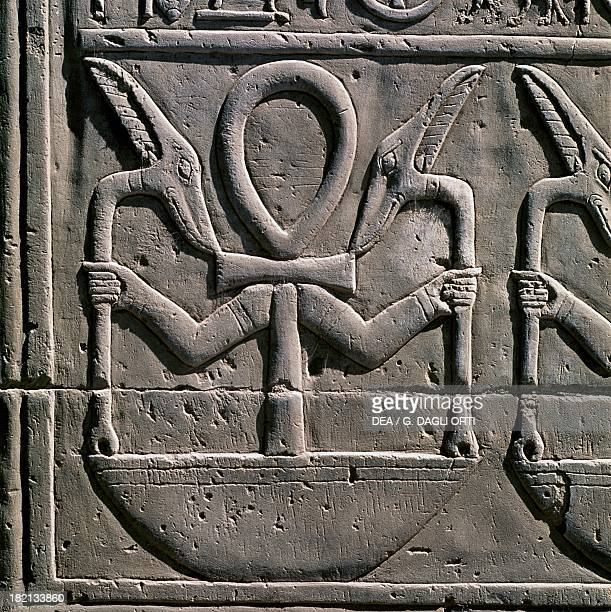 Symbolic frieze with ankh and was sceptres Temple of Sobek and Haroeris KomOmbo Egyptian Civilisation Ptolemaic Period