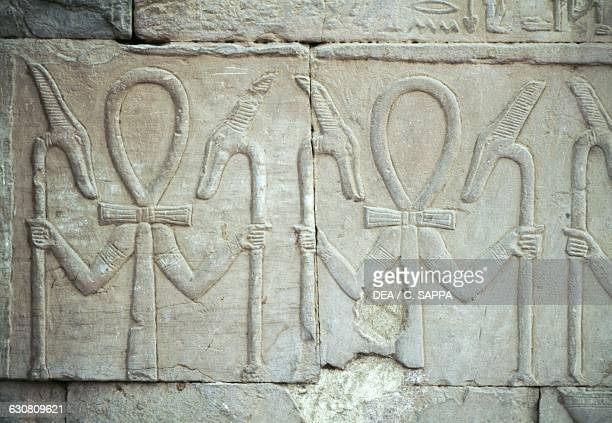 Symbolic frieze with the Ankh and Was sceptres Temple of Sobek and Haroeris Kom Ombo Egypt Roman period