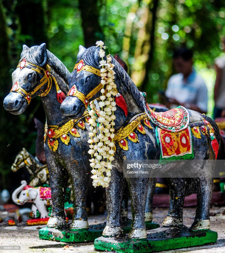 Symbolic Horses on Display at a Buddhist Shrine in Thailand : Stock-Foto