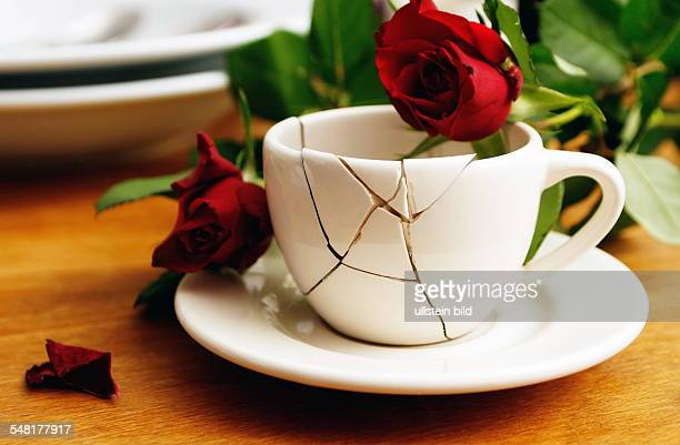 symbolic photo divorce problems trouble broken cup and roses