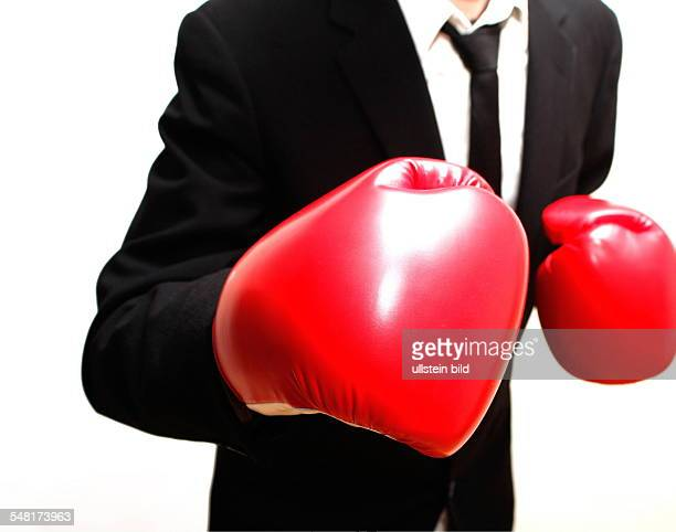symbolic photo fight competition career business man is boxing