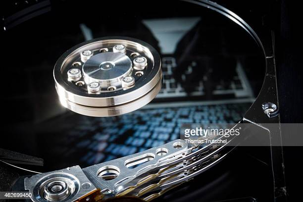 Symbolic photo for data protection reflection of a binary code and laptop in a computer hard drive on January 29 2015 in Berlin Germany