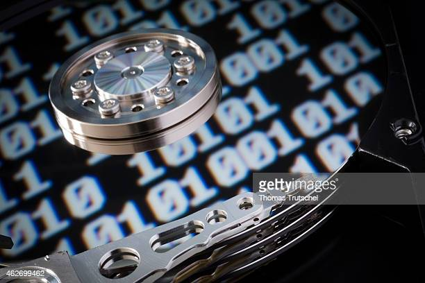 Symbolic photo for data protection reflection of a binary code in a computer hard drive on January 29 2015 in Berlin Germany