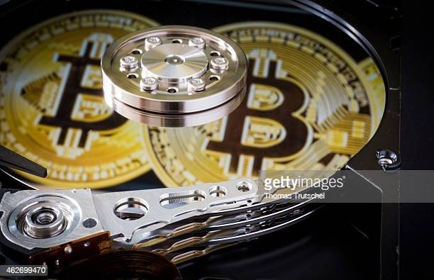 Symbolic photo for data protection reflection of Bitcoins an online payment system in a computer hard drive on January 29 2015 in Berlin Germany