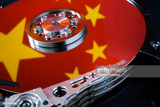 Symbolic photo for data protection reflection of the flag of China in a computer hard drive on January 29 2015 in Berlin Germany