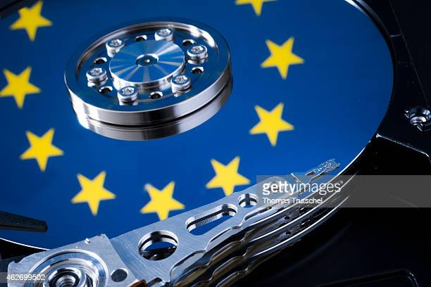 Symbolic photo for data protection reflection of the flag of the European Union in a computer hard drive on January 29 2015 in Berlin Germany