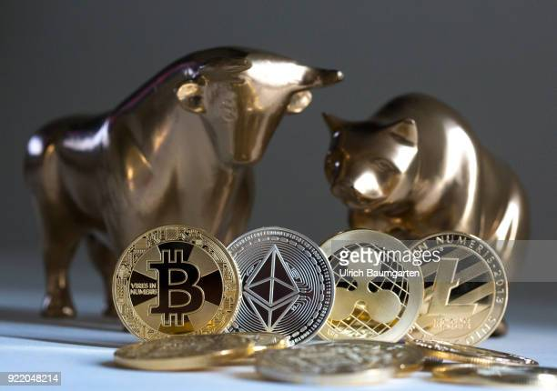 Symbolic photo on the subject of cryptocurrencies stock exchange stock market trading bull and bear market exchange loss exchange gain bull and bear...