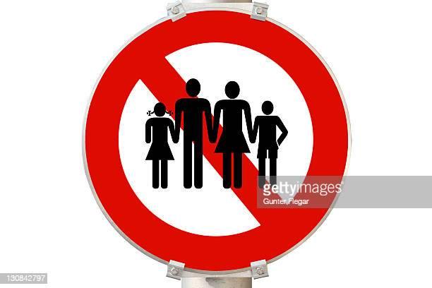 Symbolic photo - prohibition sign - family