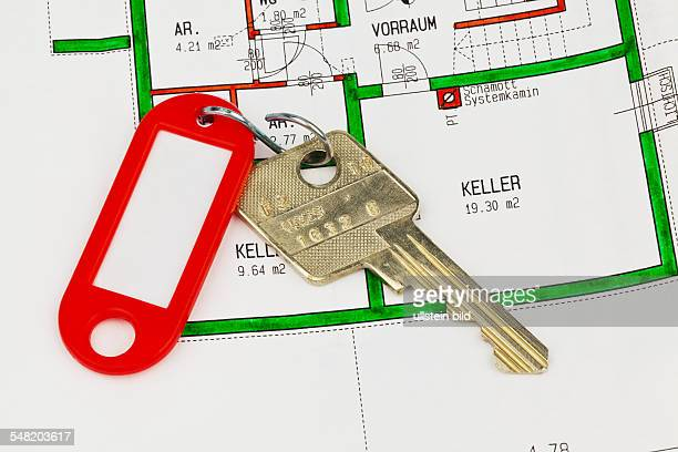 symbolic photo residental lease house purchase owneroccupied flat ground plan and keys