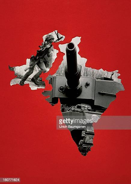 Symbolic picture to the India / Pakistan conflict Pictures as conturs of the lands Pakistan and India