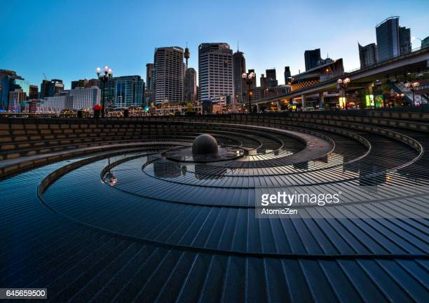 symbolic rock garden of darling harbour, sydney - darling harbour stock pictures, royalty-free photos & images