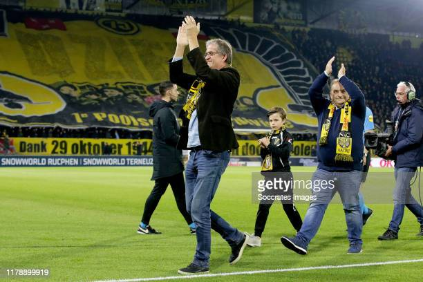 symbolic start of the game by Jack Sutarzewicz and Michel Lessmann during the Dutch KNVB Beker match between NAC Breda v FC Emmen at the Rat Verlegh...