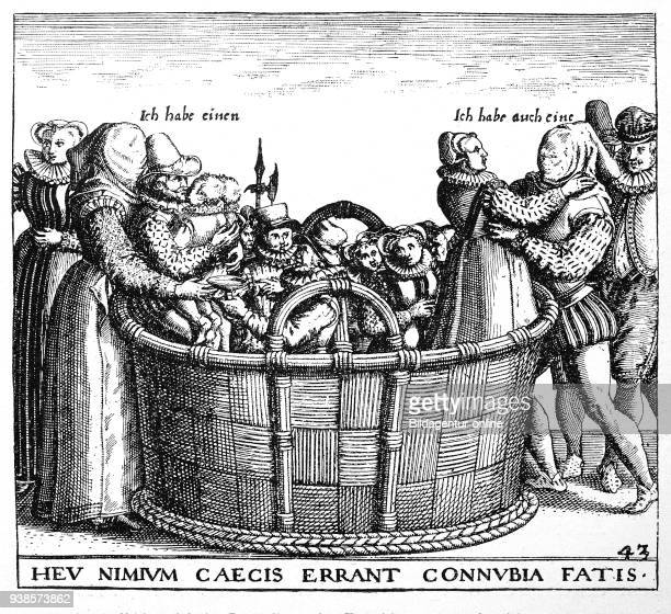 Symbolic-satirical portrayal of the marriage, copper engraving by De Bry, a man and a woman stand by a tub and look for a partner with blindfolded...