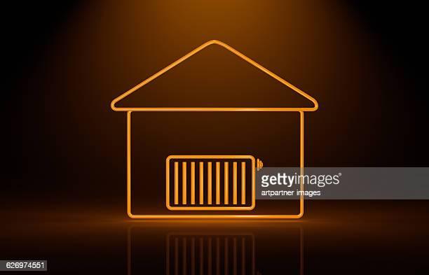 symbolized house and radiator - 暖房用ラジエーター ストックフォトと画像