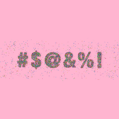 Symbols made out of sprinkles representing swearwords on pink background - gettyimageskorea