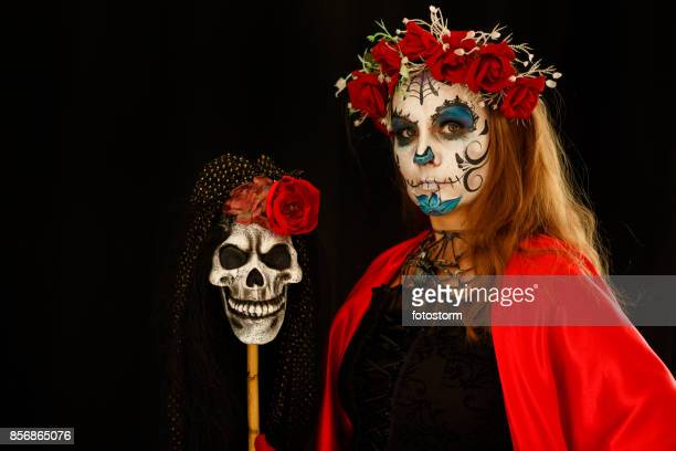 symbols of day of the dead - sugar skull stock photos and pictures