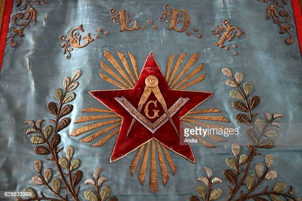 Symbols of Freemasonry Letter G in the middle of a star the Square and Compasses GLDF initials Grande Loge de France the third largest Masonic...