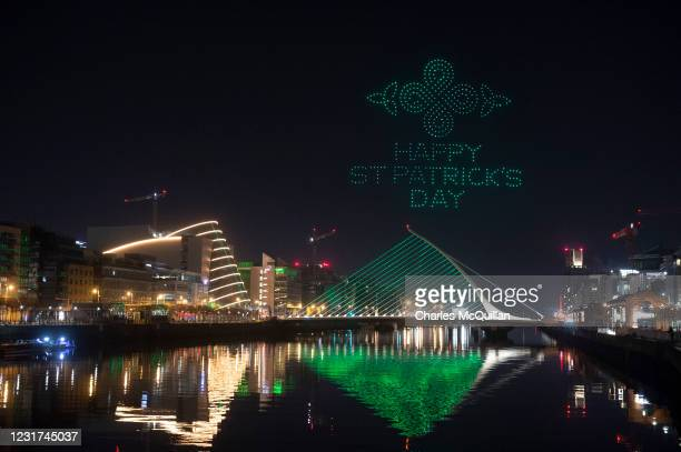 Symbols of Ireland's world-famous traditional music and dance culture can be seen, as the Orchestra of Light Intel Drone Light Show to celebrate...
