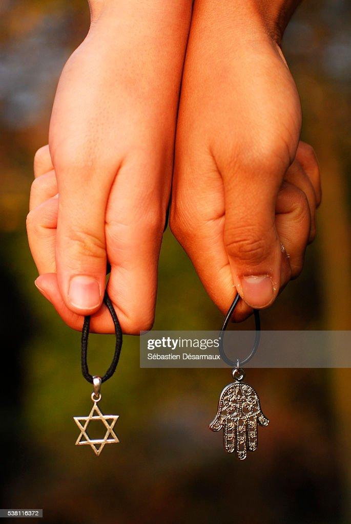 Symbols of Judaism and Islam : Stock Photo