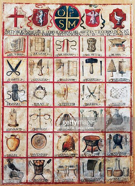 Symbols of the arts and crafts of the city of Orvieto parchment Italy 17th century Orvieto Museo Claudio Faina