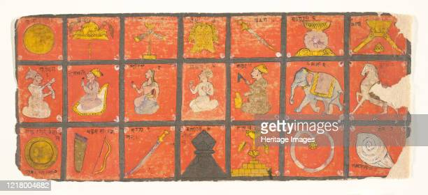 Symbols of the Chakravartin: Folio from a Digambara Manuscript, Possibly the Shalibhadra, late 17th century. Symbols of divine kingship - the...