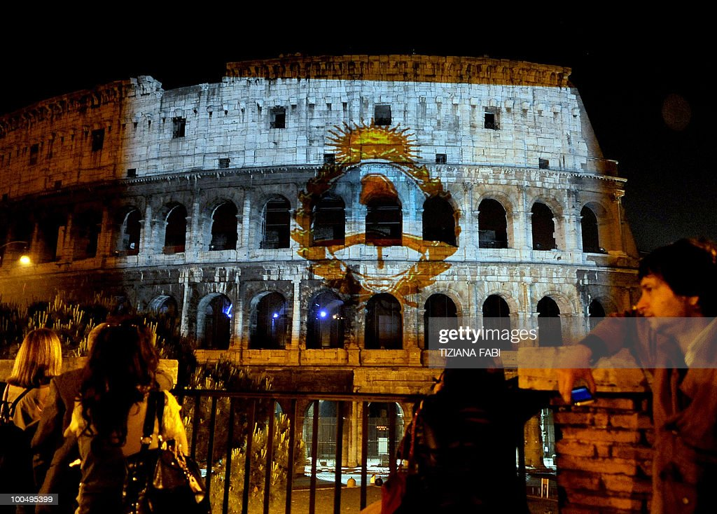 Symbols of the Republic of Argentina are projected on the Colosseum in Rome early on May 25, 2010 to celebrate the 200th anniversary of the Argentinian revolution, which brought independence from Spain. With its revolution of May 25, 1810, Argentina began shedding colonial rule from Spain, leading to the independence of Chile and Peru and on July 9, 1816 to that of Argentina itself.