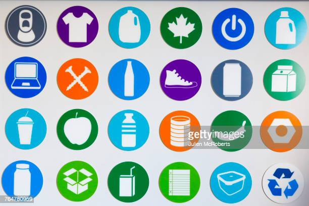 symbols on wall - computer icon stock photos and pictures